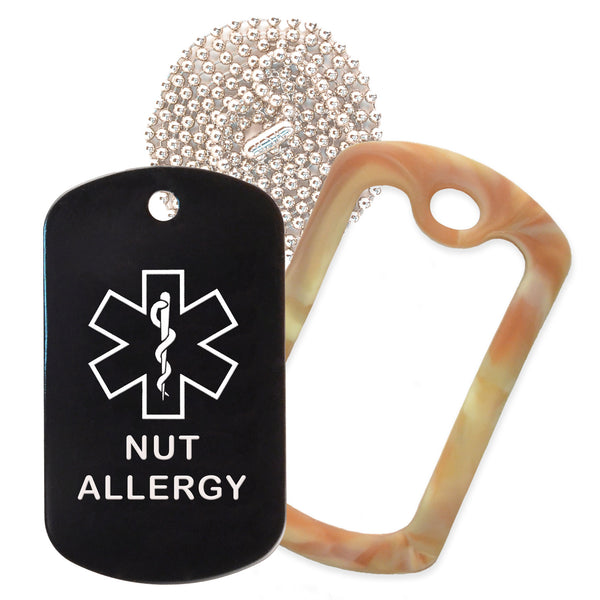 Black Medical ID Nut Allergy Necklace with Desert Camo Rubber Silencer and 30'' Ball Chain