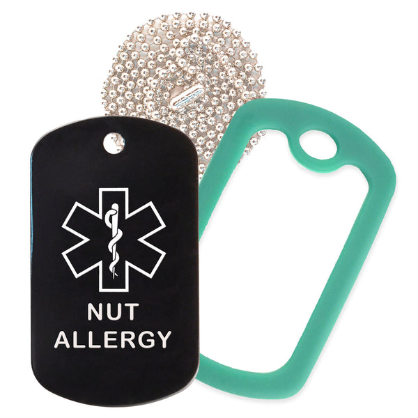 Black Medical ID Nut Allergy Necklace with Green Rubber Silencer and 30'' Ball Chain