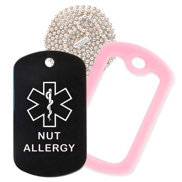 Black Medical ID Nut Allergy Necklace with Pink Rubber Silencer and 30'' Ball Chain
