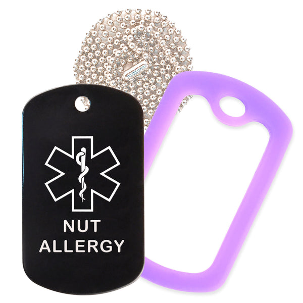 Black Medical ID Nut Allergy Necklace with Purple Rubber Silencer and 30'' Ball Chain