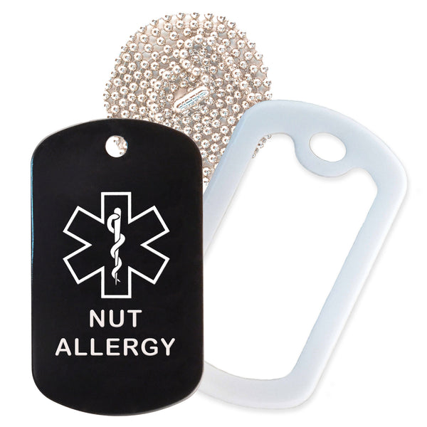 Black Medical ID Nut Allergy Necklace with White Rubber Silencer and 30'' Ball Chain
