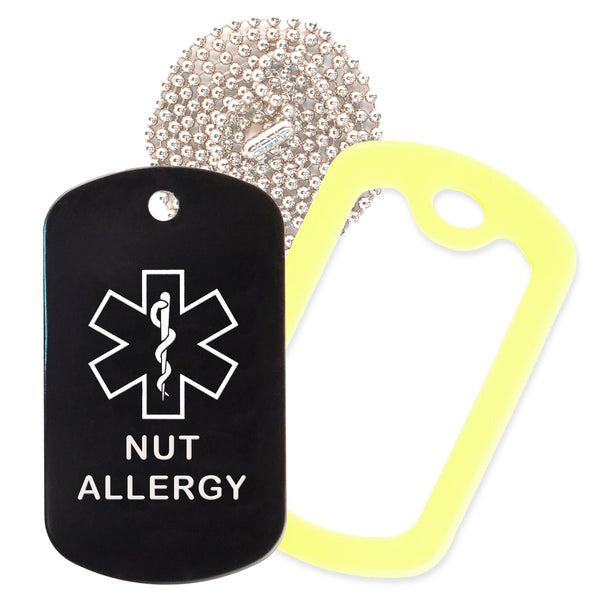 Black Medical ID Nut Allergy Necklace with Yellow Rubber Silencer and 30'' Ball Chain