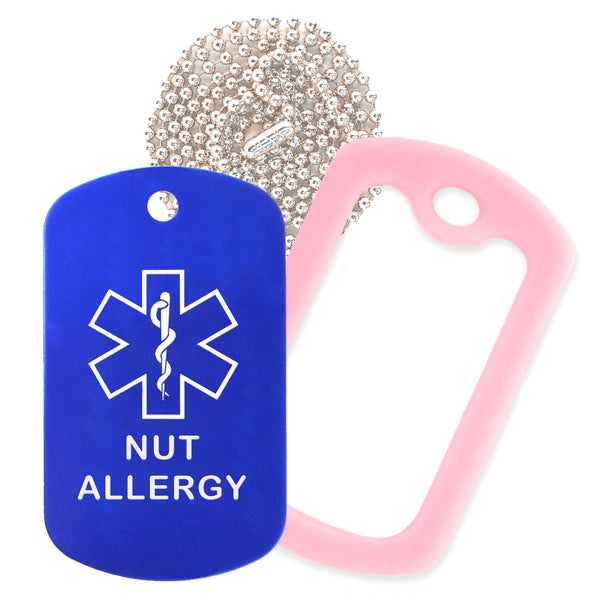 Blue Medical ID Nut Allergy Necklace with Pink Rubber Silencer and 30'' Ball Chain