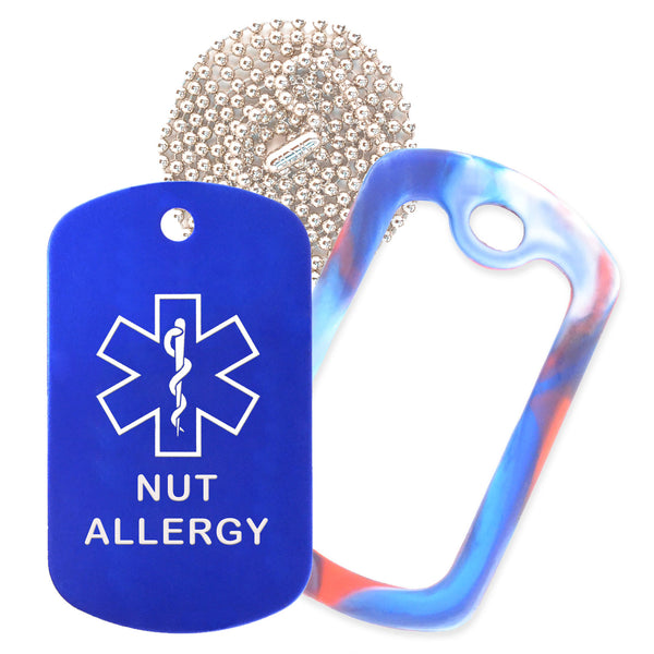 Blue Medical ID Nut Allergy Necklace with Red White and Blue Rubber Silencer and 30'' Ball Chain