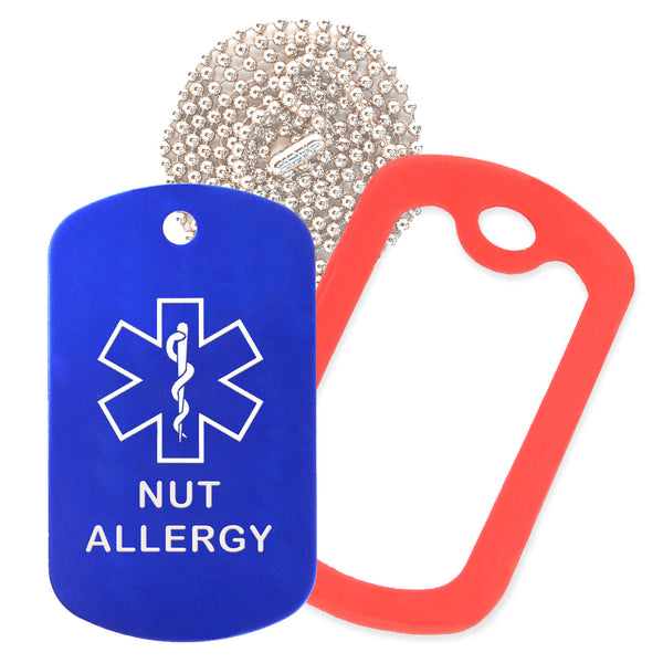 Blue Medical ID Nut Allergy Necklace with Red Rubber Silencer and 30'' Ball Chain