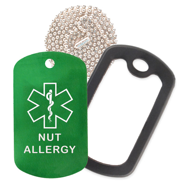 Green Medical ID Nut Allergy Necklace with Black Rubber Silencer and 30'' Ball Chain