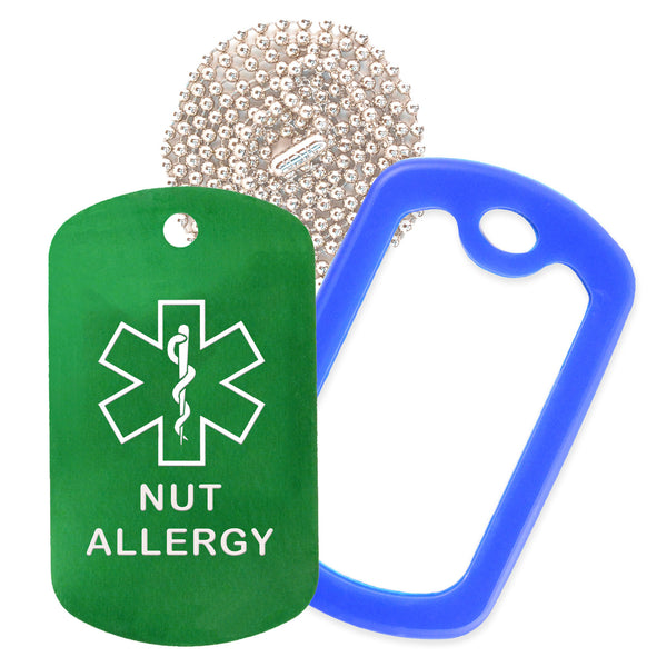 Green Medical ID Nut Allergy Necklace with Blue Rubber Silencer and 30'' Ball Chain