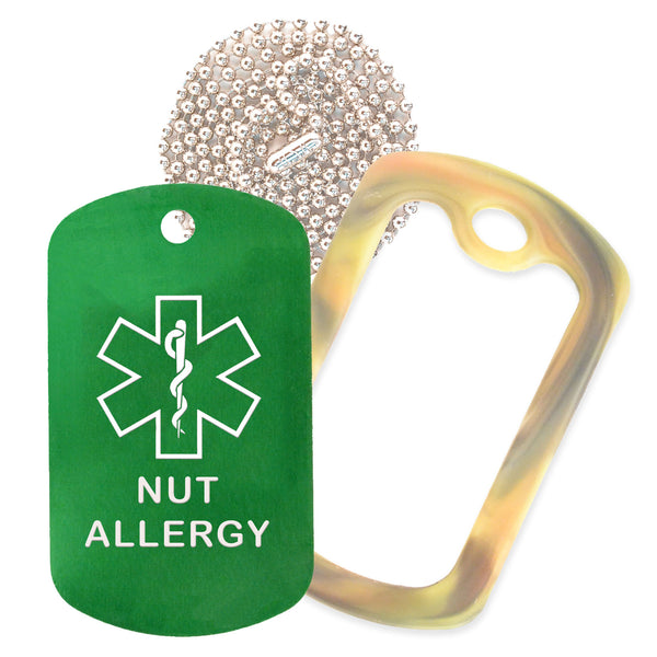 Green Medical ID Nut Allergy Necklace with Forest Camo Rubber Silencer and 30'' Ball Chain