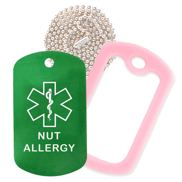 Green Medical ID Nut Allergy Necklace with Pink Rubber Silencer and 30'' Ball Chain