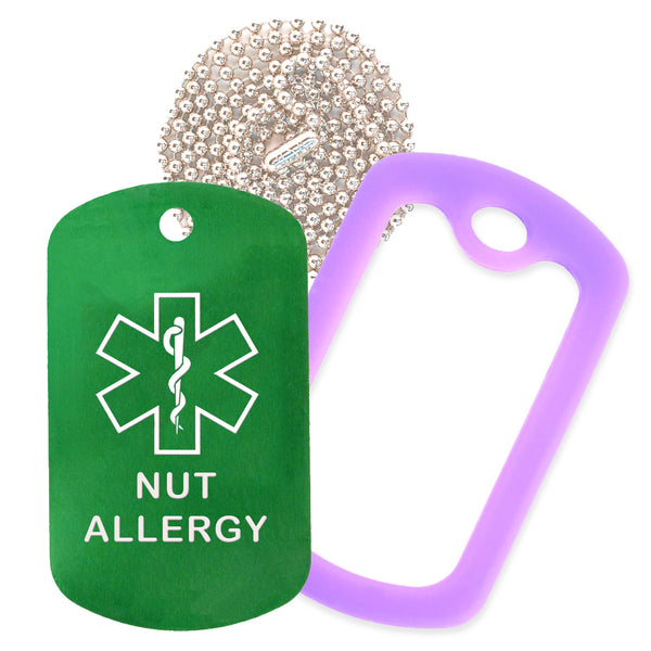 Green Medical ID Nut Allergy Necklace with Purple Rubber Silencer and 30'' Ball Chain