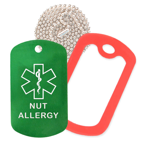 Green Medical ID Nut Allergy Necklace with Red Rubber Silencer and 30'' Ball Chain