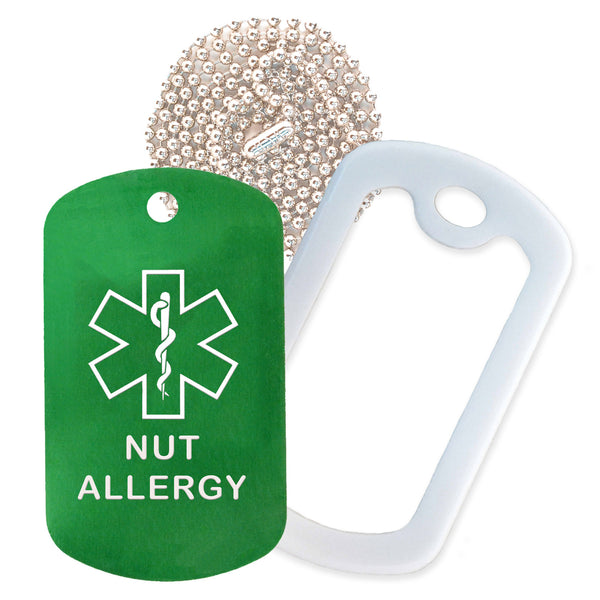 Green Medical ID Nut Allergy Necklace with White Rubber Silencer and 30'' Ball Chain