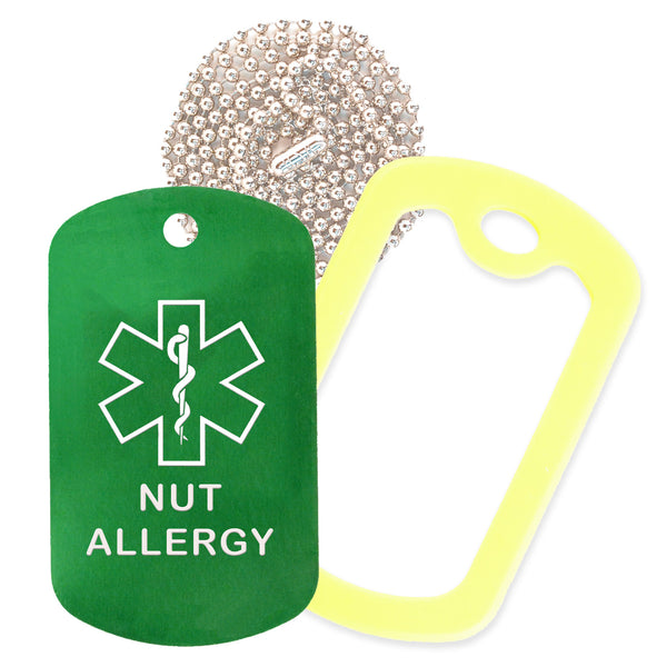 Green Medical ID Nut Allergy Necklace with Yellow Rubber Silencer and 30'' Ball Chain