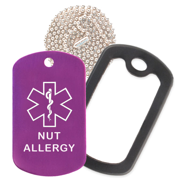Purple Medical ID Nut Allergy Necklace with Black Rubber Silencer and 30'' Ball Chain