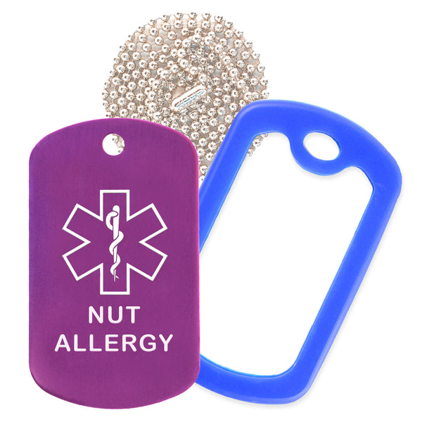 Purple Medical ID Nut Allergy Necklace with Blue Rubber Silencer and 30'' Ball Chain