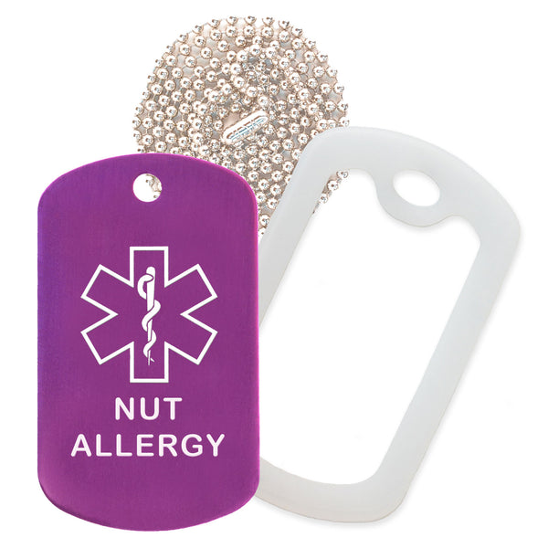 Purple Medical ID Nut Allergy Necklace with Clear Rubber Silencer and 30'' Ball Chain