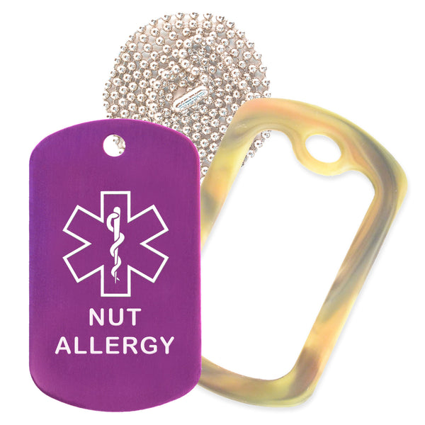 Purple Medical ID Nut Allergy Necklace with Forest Camo Rubber Silencer and 30'' Ball Chain