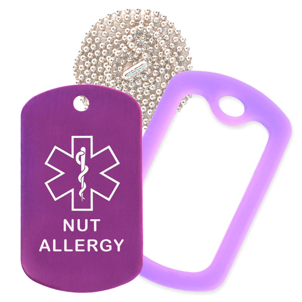 Purple Medical ID Nut Allergy Necklace with Purple Rubber Silencer and 30'' Ball Chain