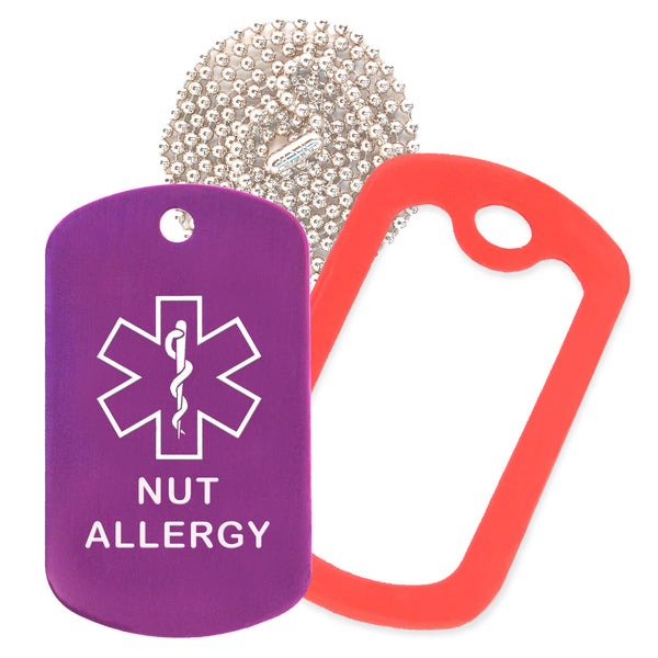 Purple Medical ID Nut Allergy Necklace with Red Rubber Silencer and 30'' Ball Chain