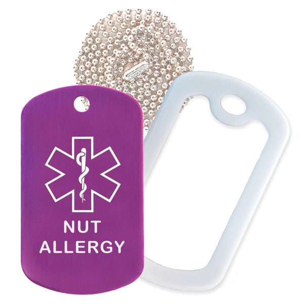 Purple Medical ID Nut Allergy Necklace with White Rubber Silencer and 30'' Ball Chain