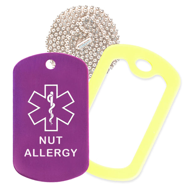 Purple Medical ID Nut Allergy Necklace with Yellow Rubber Silencer and 30'' Ball Chain