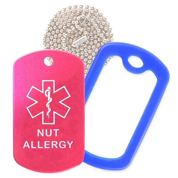 Hot Pink Medical ID Nut Allergy Necklace with Blue Rubber Silencer and 30'' Ball Chain