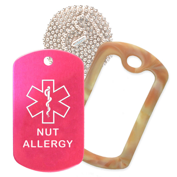 Hot Pink Medical ID Nut Allergy Necklace with Desert Camo Rubber Silencer and 30'' Ball Chain
