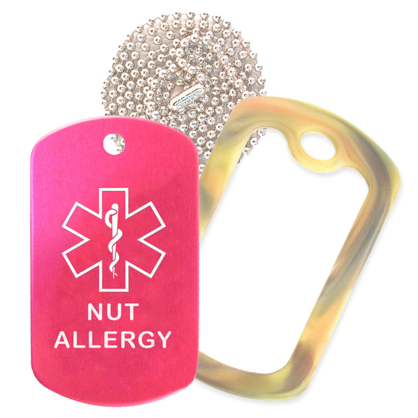 Hot Pink Medical ID Nut Allergy Necklace with Forest Camo Rubber Silencer and 30'' Ball Chain
