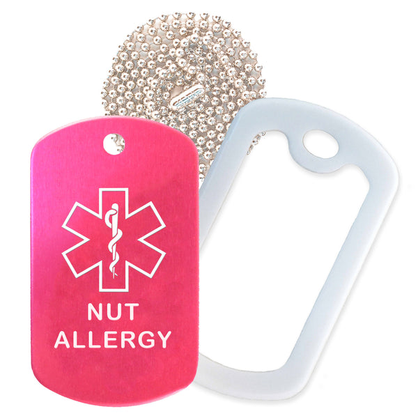 Hot Pink Medical ID Nut Allergy Necklace with White Rubber Silencer and 30'' Ball Chain