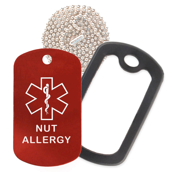 Red Medical ID Nut Allergy Necklace with Black Rubber Silencer and 30'' Ball Chain
