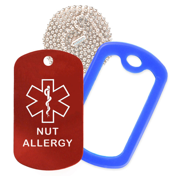Red Medical ID Nut Allergy Necklace with Blue Rubber Silencer and 30'' Ball Chain
