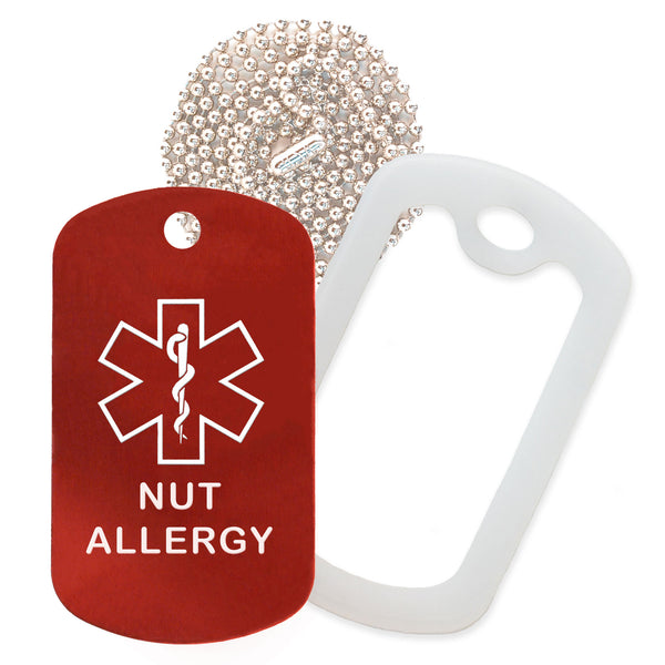 Red Medical ID Nut Allergy Necklace with Clear Rubber Silencer and 30'' Ball Chain