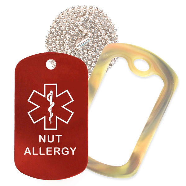 Red Medical ID Nut Allergy Necklace with Forest Camo Rubber Silencer and 30'' Ball Chain
