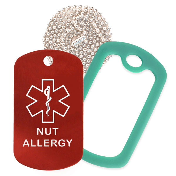 Red Medical ID Nut Allergy Necklace with Green Rubber Silencer and 30'' Ball Chain