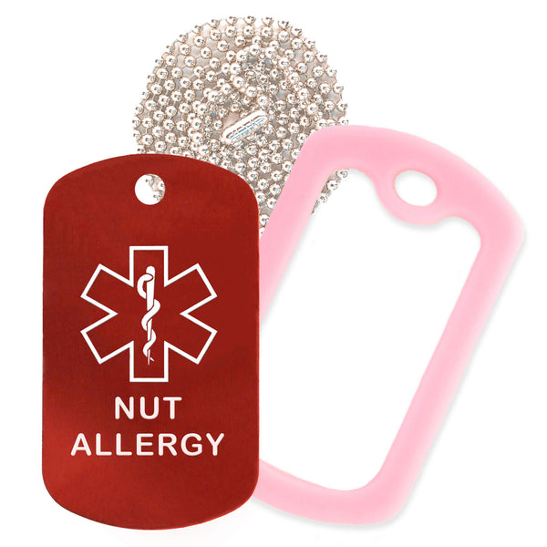 Red Medical ID Nut Allergy Necklace with Pink Rubber Silencer and 30'' Ball Chain