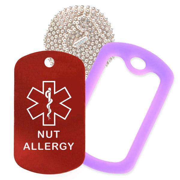 Red Medical ID Nut Allergy Necklace with Purple Rubber Silencer and 30'' Ball Chain