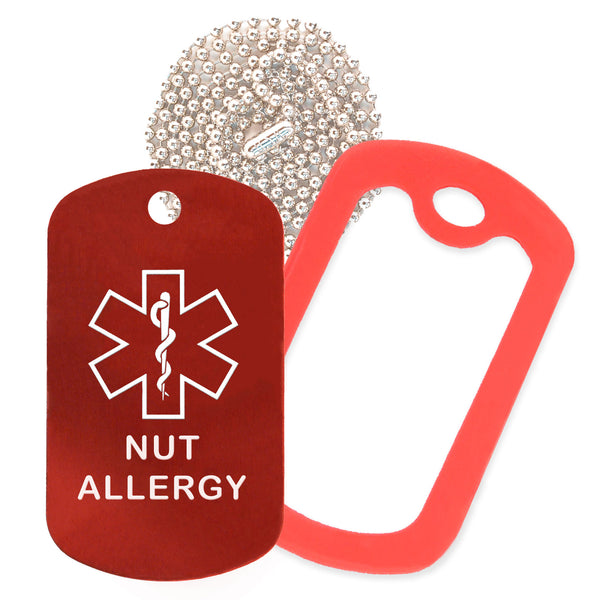 Red Medical ID Nut Allergy Necklace with Red Rubber Silencer and 30'' Ball Chain