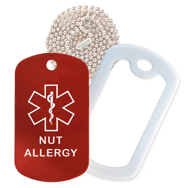Red Medical ID Nut Allergy Necklace with White Rubber Silencer and 30'' Ball Chain