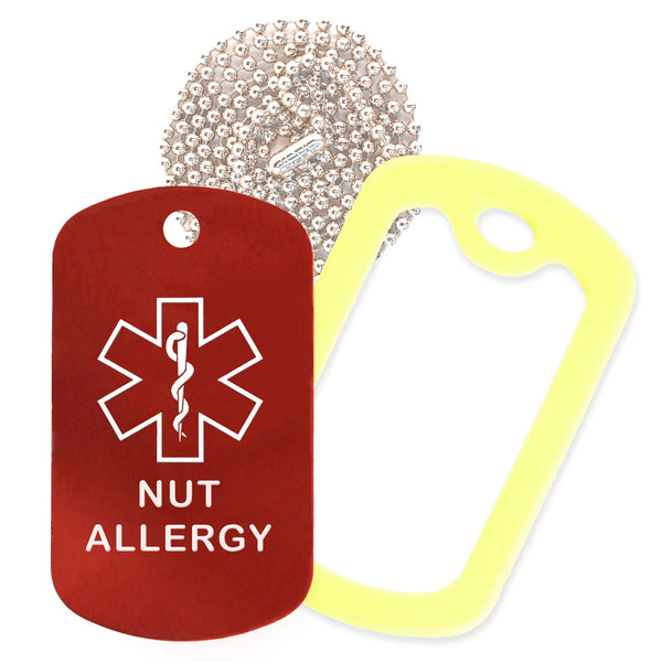 Red Medical ID Nut Allergy Necklace with Yellow Rubber Silencer and 30'' Ball Chain