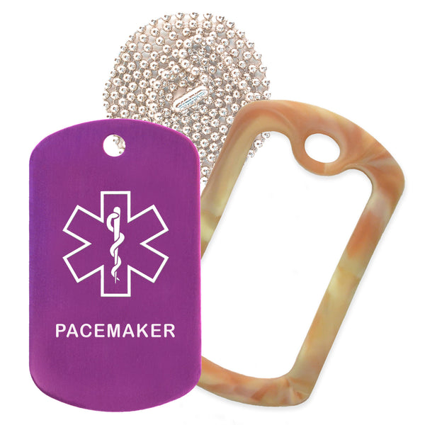 Purple Medical ID Pacemaker Necklace with Desert Camo Rubber Silencer and 30'' Ball Chain