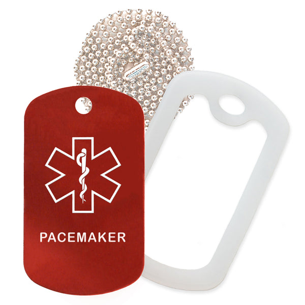 Red Medical ID Pacemaker Necklace with Clear Rubber Silencer and 30'' Ball Chain
