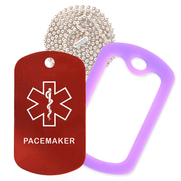 Red Medical ID Pacemaker Necklace with Purple Rubber Silencer and 30'' Ball Chain