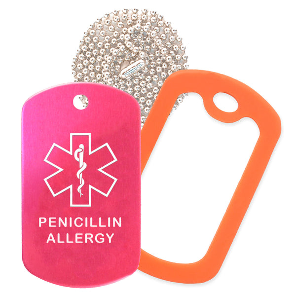 Hot Pink Medical ID Penicillin Allergy Necklace with Orange Rubber Silencer and 30'' Ball Chain