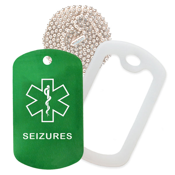 Green Medical ID Seizure Necklace with Clear Rubber Silencer and 30'' Ball Chain