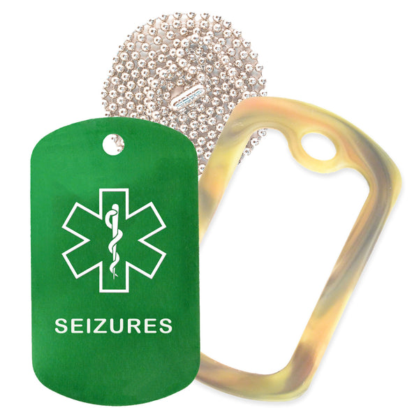 Green Medical ID Seizure Necklace with Forest Camo Rubber Silencer and 30'' Ball Chain