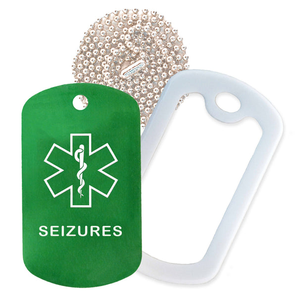 Green Medical ID Seizure Necklace with White Rubber Silencer and 30'' Ball Chain