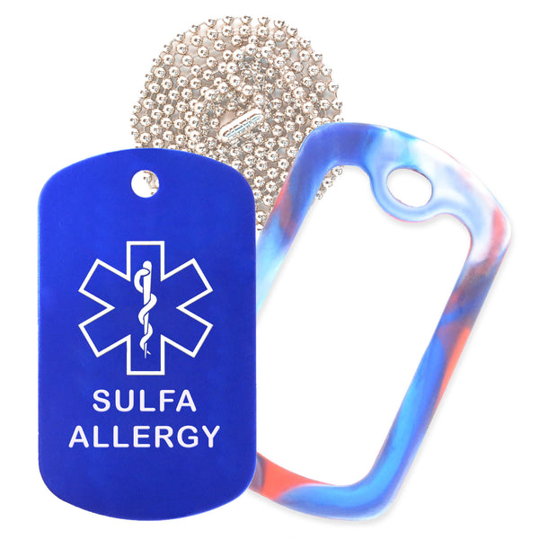 Blue Sulfa Allergy Medical ID Necklace with Red White and Blue Rubber Silencer and 30'' Ball Chain