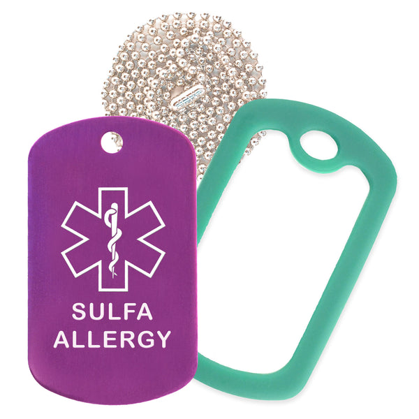Purple Sulfa Allergy Medical ID Necklace with Green Rubber Silencer and 30'' Ball Chain