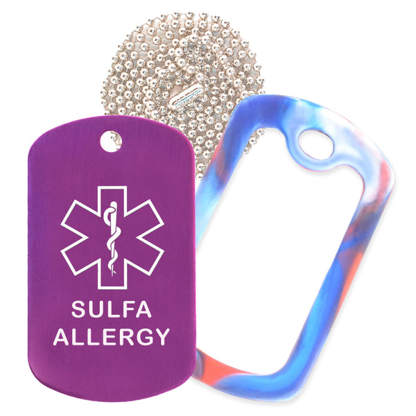 Purple Sulfa Allergy Medical ID Necklace with Red White and Blue Rubber Silencer and 30'' Ball Chain