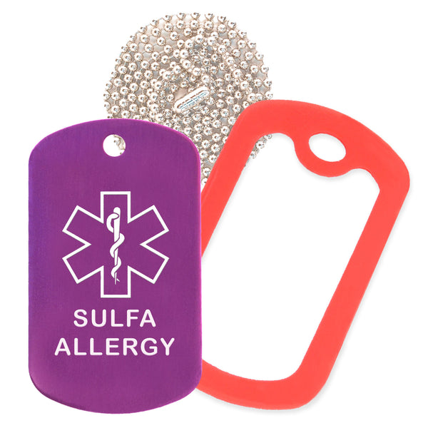 Purple Sulfa Allergy Medical ID Necklace with Red Rubber Silencer and 30'' Ball Chain
